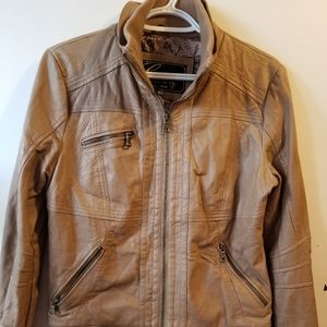 Guess Beige Leather Look Bomber